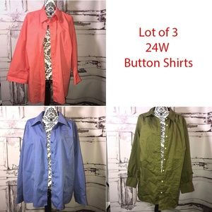 Lot of 3 24W Button up Shirts